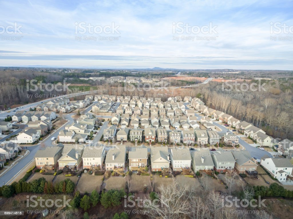Aerial view of typical suburban houses in North Georgia stock photo