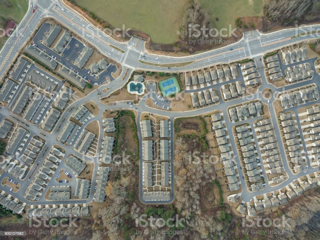 Aerial view of typical suburban houses in North Georgia seem from top to bottom stock photo