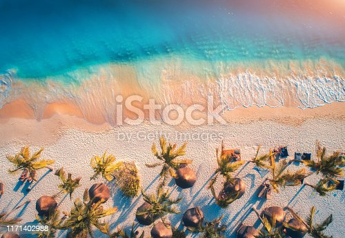 1136453253 istock photo Aerial view of umbrellas, palms on the sandy beach of Indian Ocean at sunset. Summer holiday in Zanzibar, Africa. Tropical landscape with palm trees, parasols, white sand, blue water, waves. Top view 1171402988