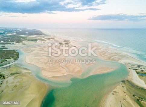 Aerial view of unique Ria Formosa at sunset in Fuseta, Algarve, Portugal