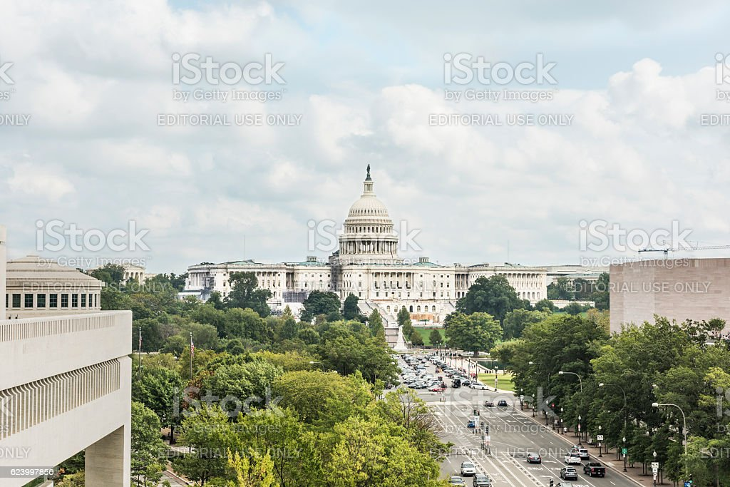 Aerial view of United States Congress stock photo