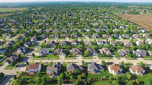 Aerial view of upper class neighborhood on sunny morning. stock photo