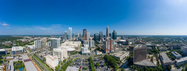 Aerial view of Uptown Downtown Charlotte North Carolina stock photo