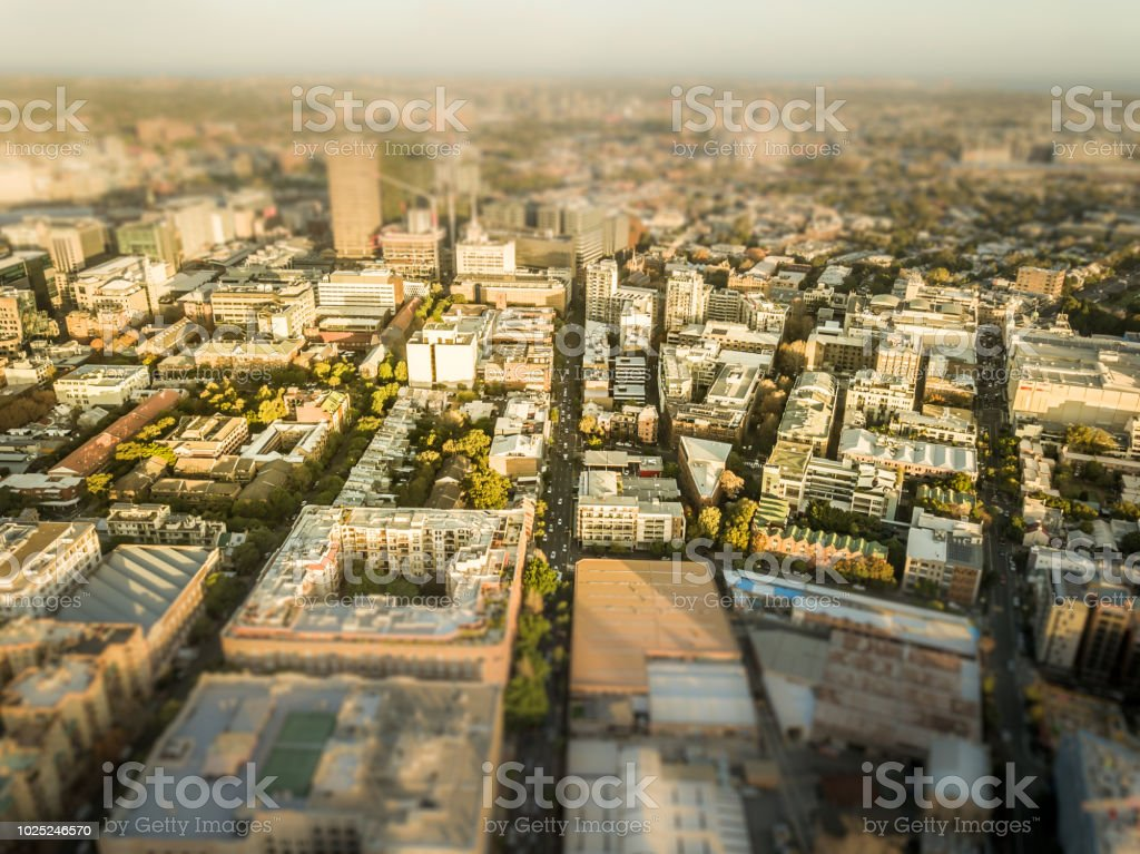 aerial view of urban district and buildings stock photo