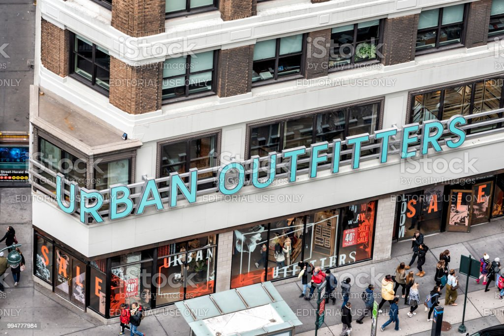 Aerial view of urban outfitters retail clothing store sign building...