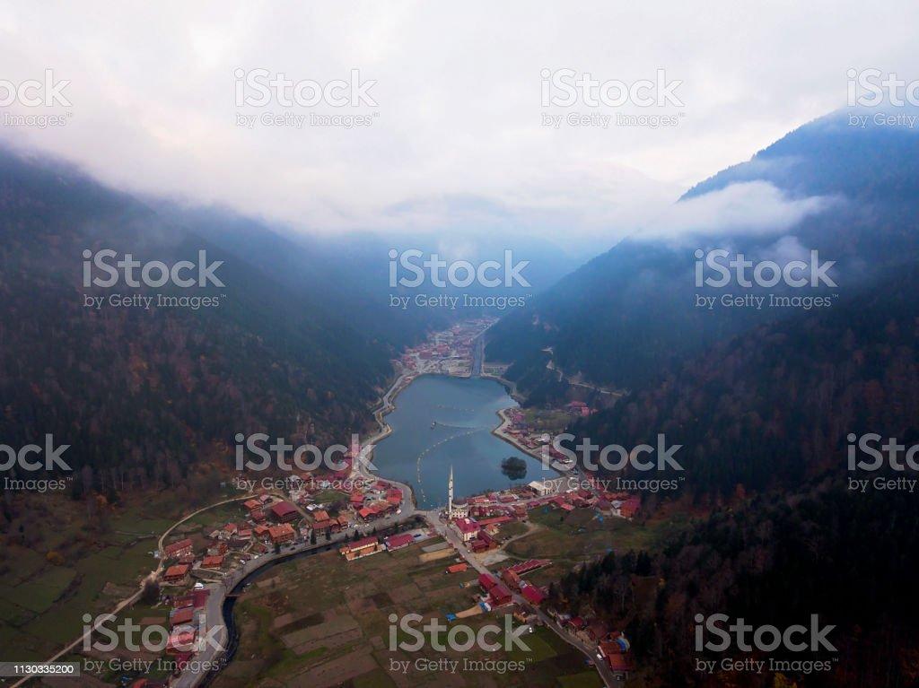 Trabzon Uzungöl Gölü havadan görünümü stok fotoğrafı