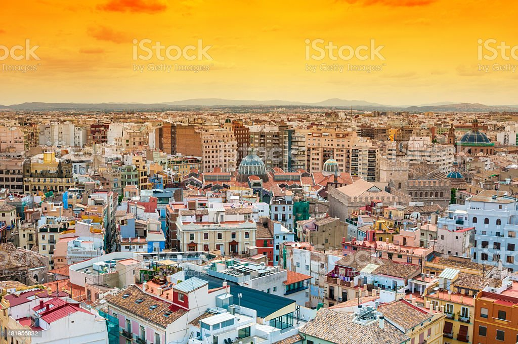 Aerial view of Valencia, Spain stock photo