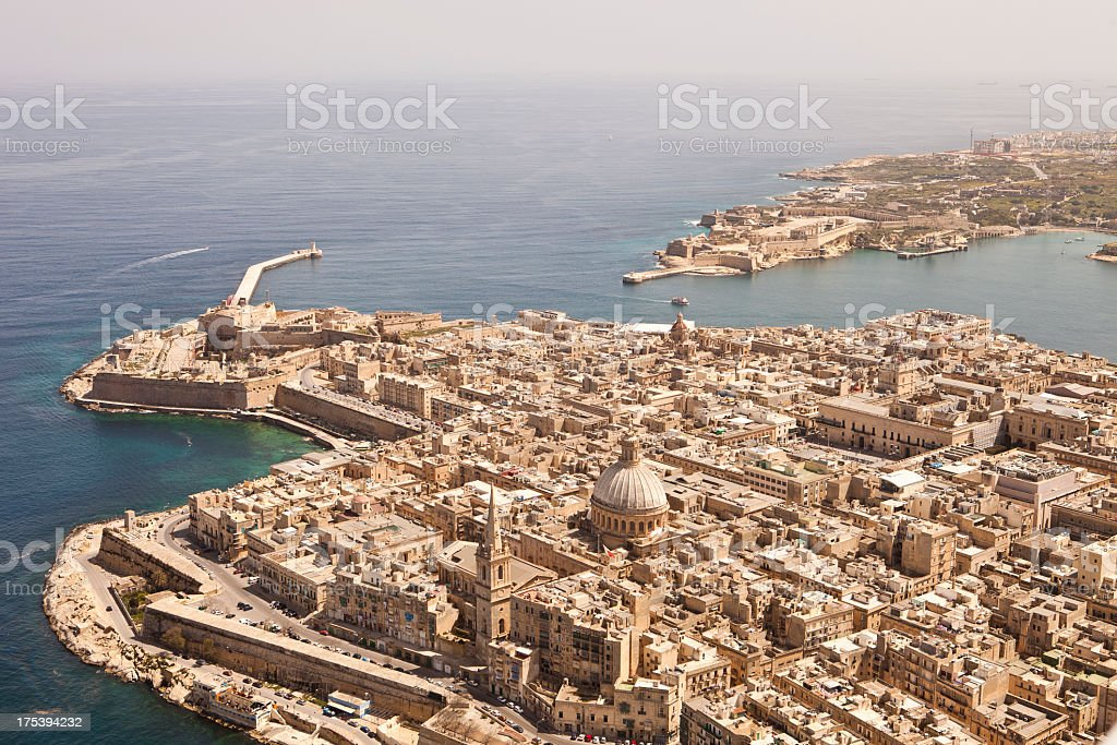Aerial View of Valletta, Malta. Taken from a light Aircraft stock photo