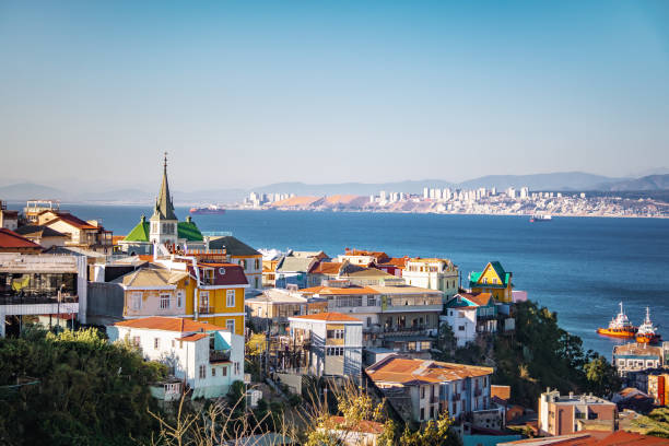 Aerial view of Valparaiso with Lutheran Church from Cerro Carcel Hill - Valparaiso, Chile stock photo