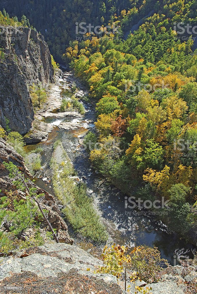 Aerial view of Vanchin river canyon in russian Primorye stock photo