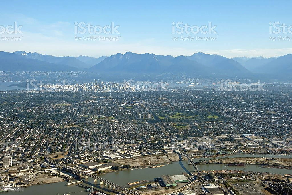 Aerial view of Vancouver downtown city in British Columbia with royalty-free stock photo