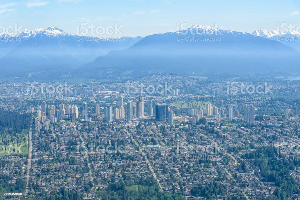 Aerial view of Vancouver with snow-capped mountain, British Columbia, Canada stock photo