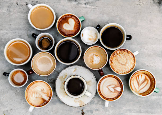 Aerial view of various coffee Aerial view of various coffee caffeine stock pictures, royalty-free photos & images