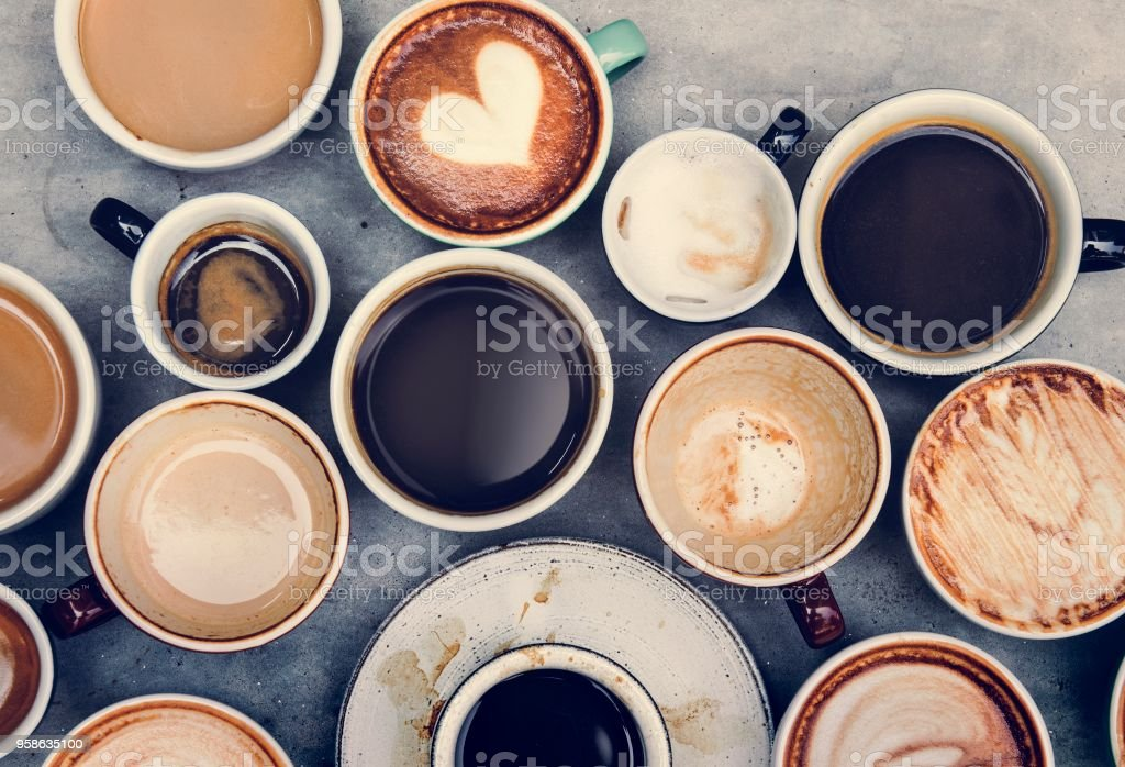 Aerial view of various coffee stock photo