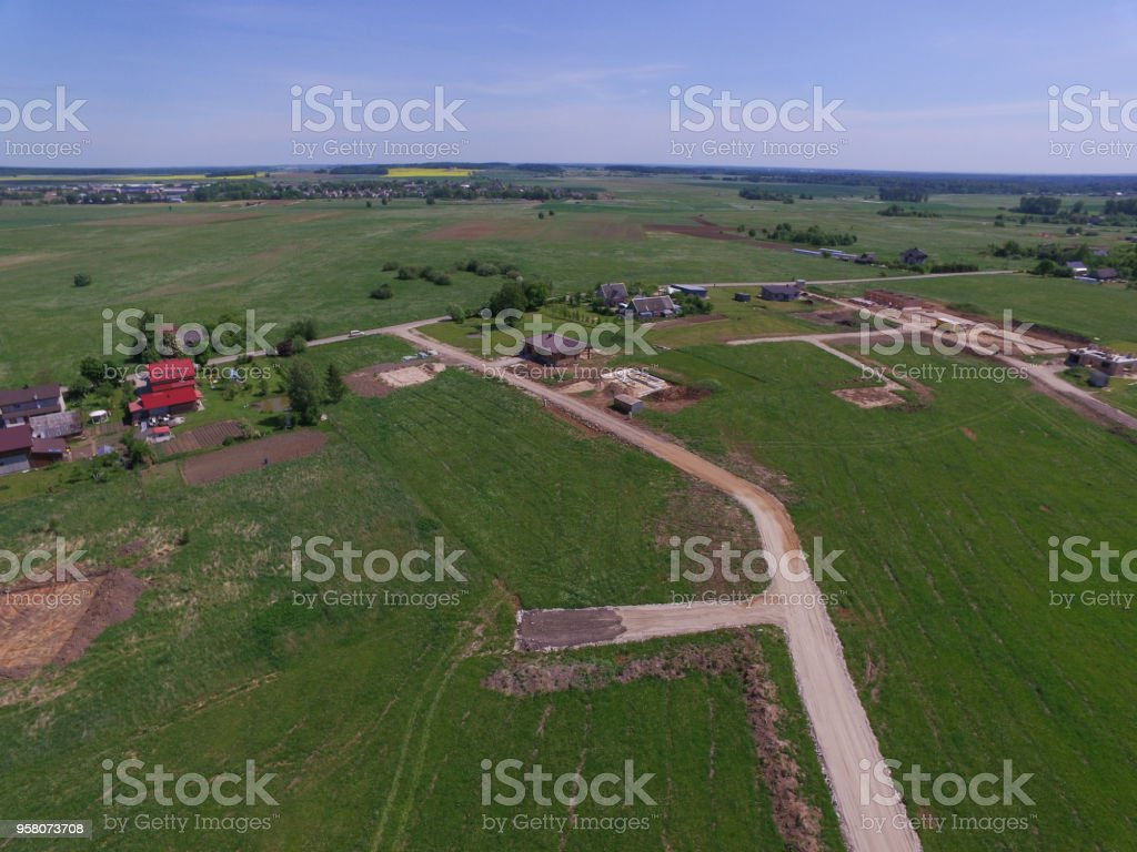 Aerial view of Varluva town in Lithuania stock photo