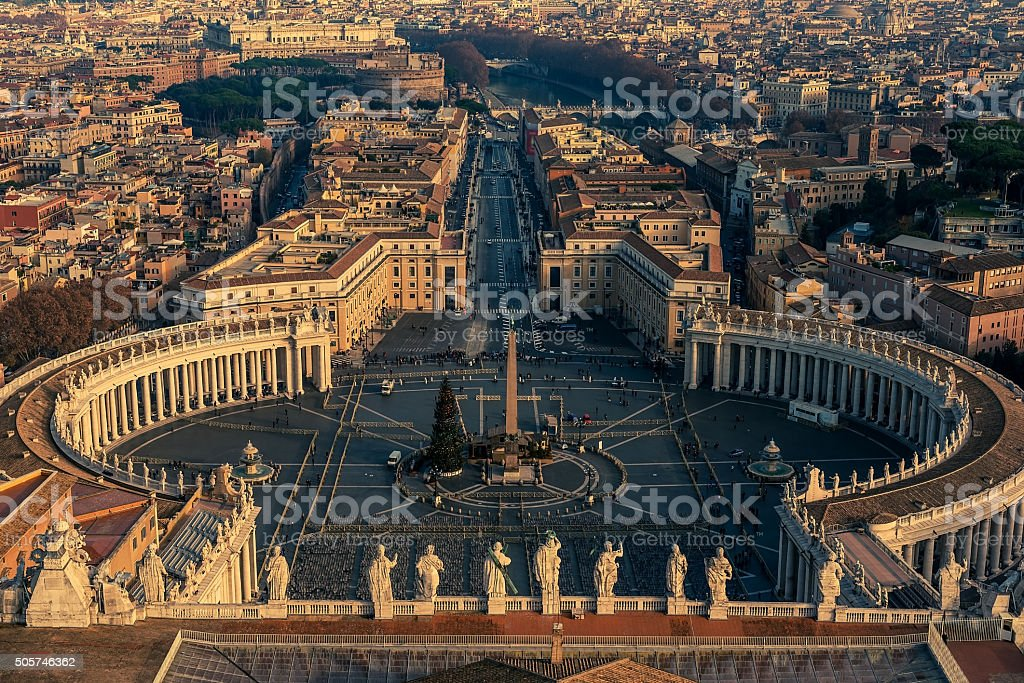 Aerial view of Vatican City and Rome, Italy stock photo