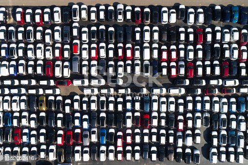 652712094 istock photo Aerial view of vehicle storage 1152052416