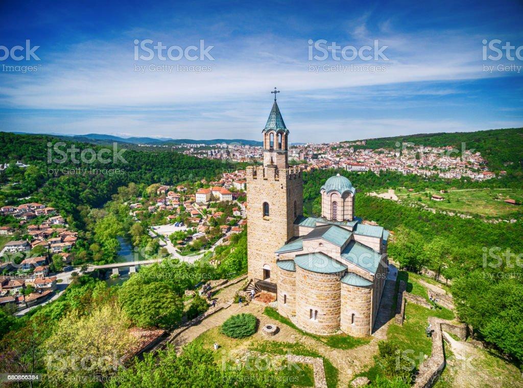 Aerial view of  Veliko Tarnovo old town stock photo