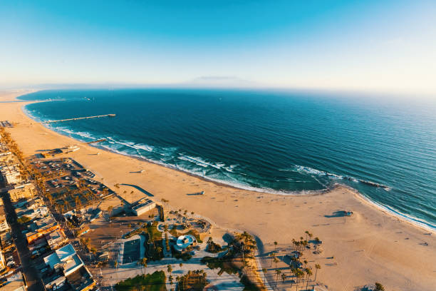 Aerial view of Venice Beach, CA Aerial view of the shoreline in Venice Beach, CA venice beach stock pictures, royalty-free photos & images