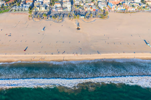 Aerial View of Venice Beach Aerial view looking straight down at Venice Beach venice beach stock pictures, royalty-free photos & images