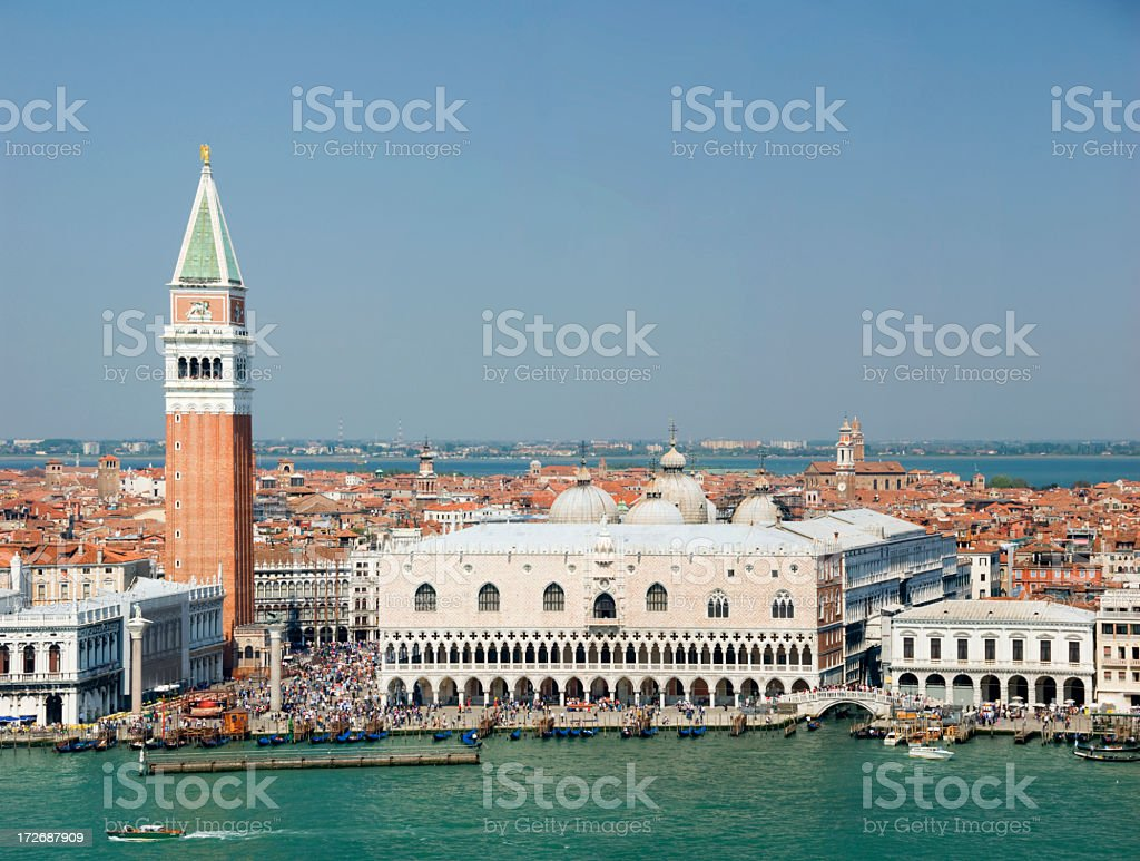 Aerial view of Venice, Italy from the water royalty-free stock photo
