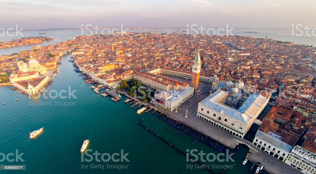 aerial view of venice with saint mark's square stock photo