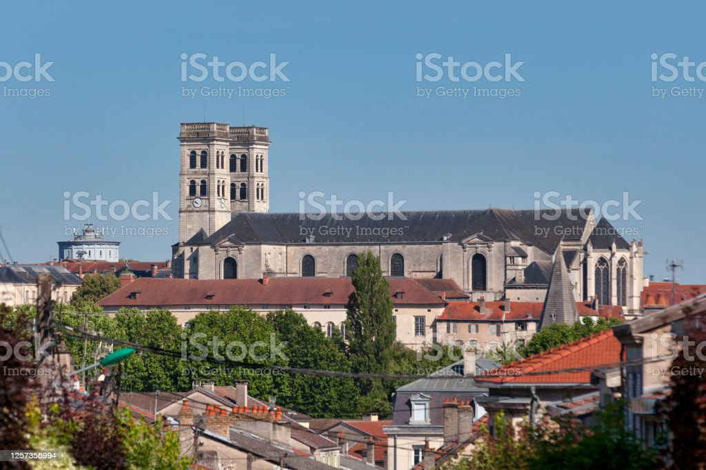 Aerial view of Verdun Cathedral Verdun Cathedral (French: Cathédrale Notre-Dame de Verdun) is a Roman Catholic church located in the town of Verdun, in the Grand Est region, France. Aerial View Stock Photo