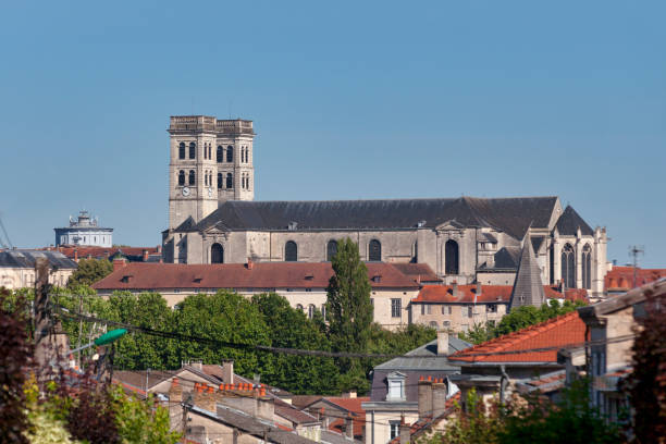 Aerial view of Verdun Cathedral stock photo