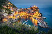 Aerial view of Vernazza in the blue hour, cinque Terre, Liguria, Italy.