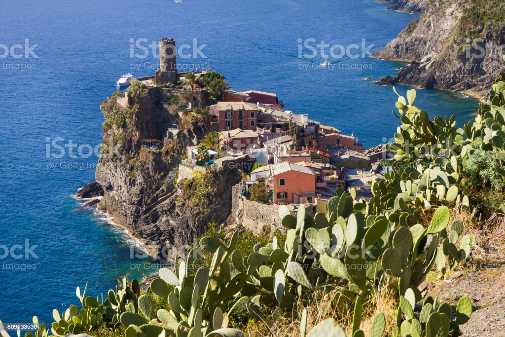 Aerial view of Vernazza in Cinque Terre, Italy stock photo