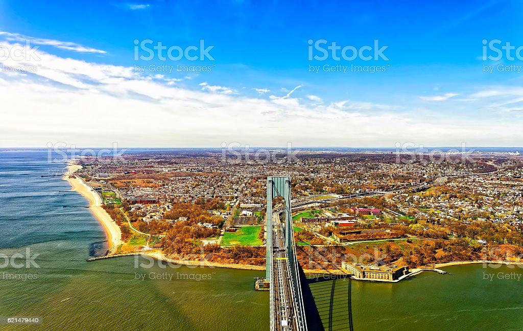Aerial view of Verrazano-Narrows Bridge over the Narrows stock photo