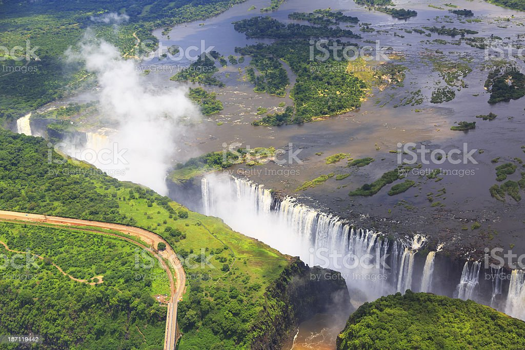Aerial view of Victoria Falls stock photo