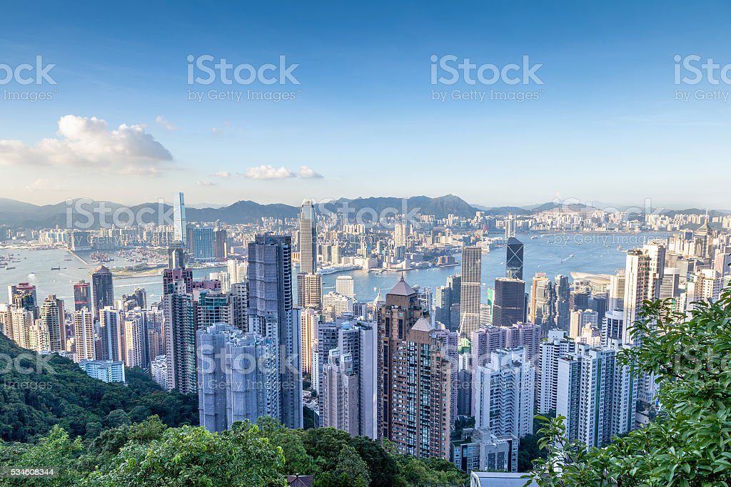 Aerial View of Victoria Harbor in Hong Kong stock photo