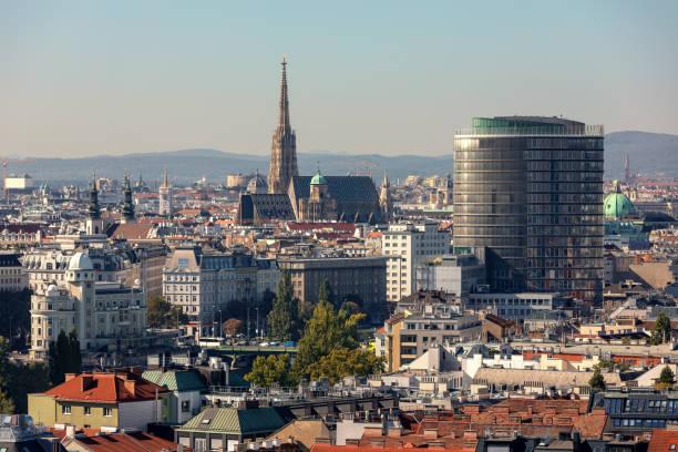 Aerial view of Vienna, Austria. stock photo