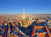 Aerial view Of Vienna with St. Stephen's Cathedral