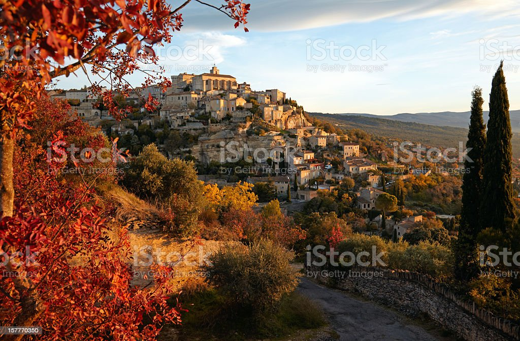 Aerial view of village in Gordes, Provence in France stock photo