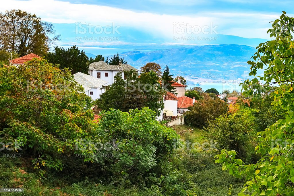 Aerial view of village in Pelion, Greece stock photo