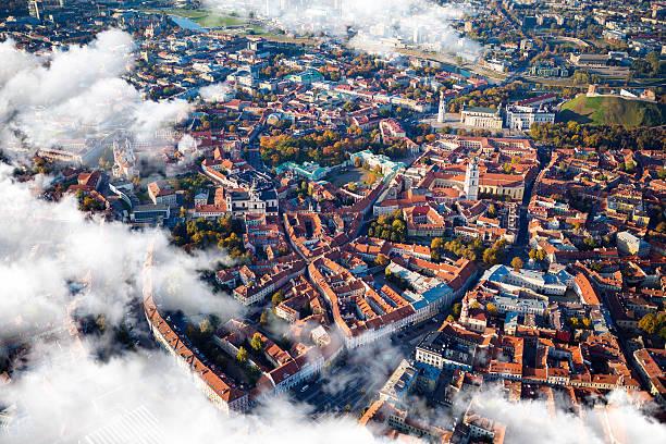 Aerial view of Vilnius, Lithuania. stock photo
