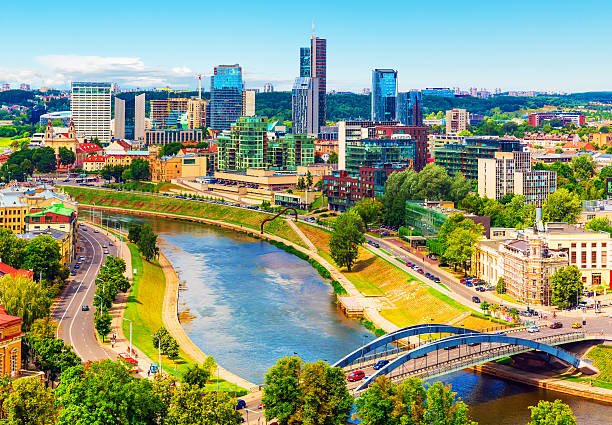 Aerial view of Vilnius, Lithuania stock photo