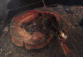 Aerial view of volcanic crater near Timanfaya National Park, Lanzarote, Canary islands, Spain