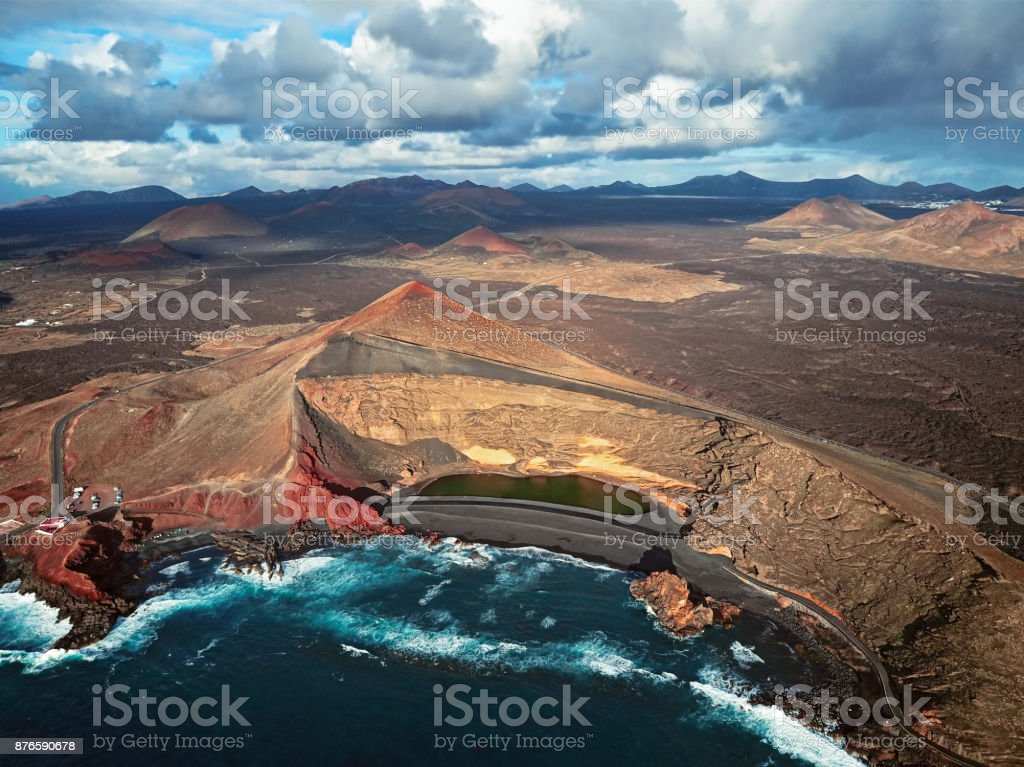 Aerial view of Volcanic Lake El Golfo, Lanzarote, Canary Islands stock photo