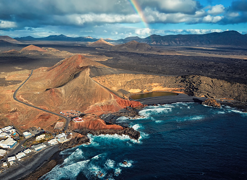 Flight over Volcanic Lake El Golfo, Lanzarote island