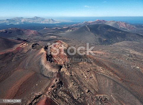 Flying over volcanoes near Timanfaya National Park, Lanzarote, Canary islands