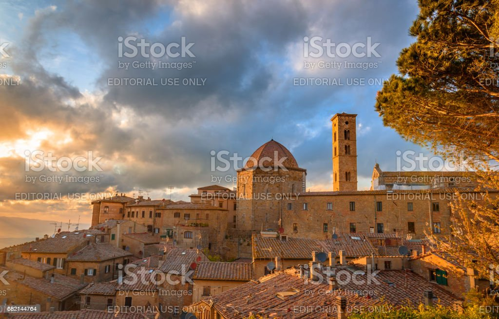 Aerial view of Volterra stock photo