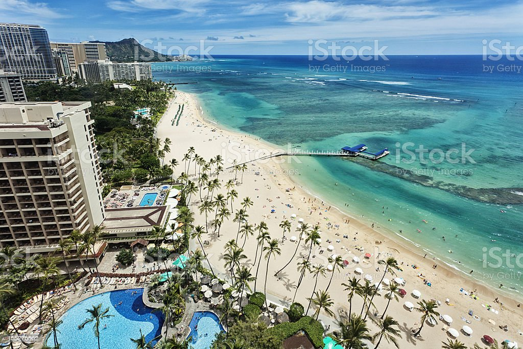 Aerial view of Waikiki beach and Diamond Head royalty-free stock photo