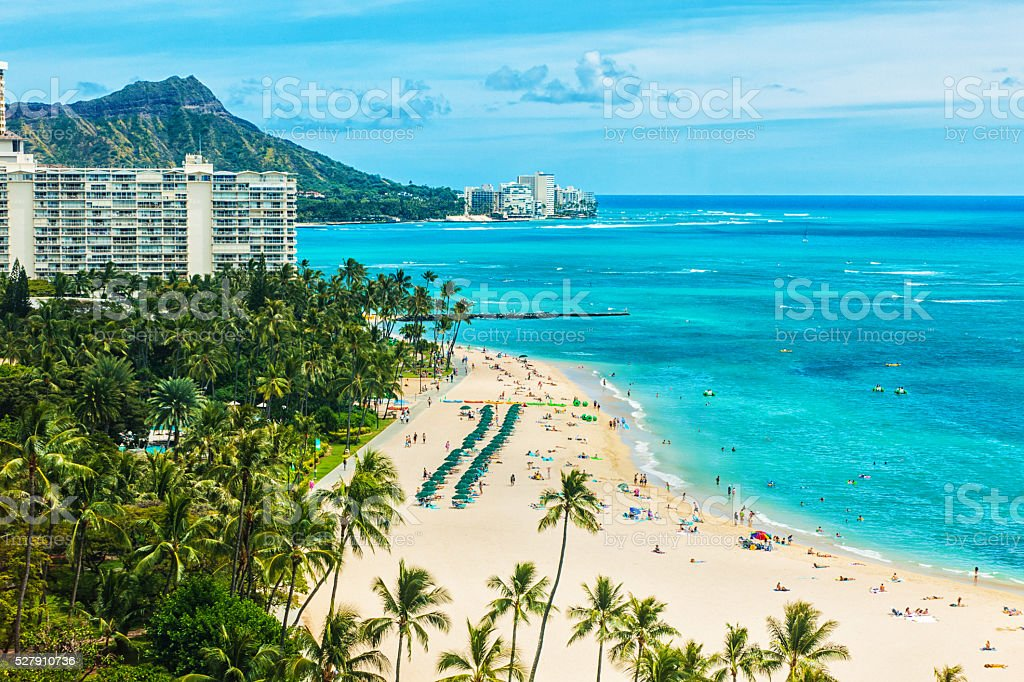 Aerial view of Waikiki beach and Diamond Head stock photo