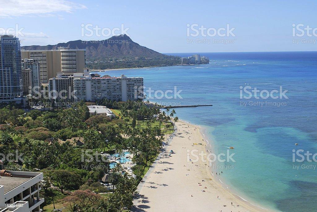Aerial View of Waikiki Beach, Hawaii stock photo