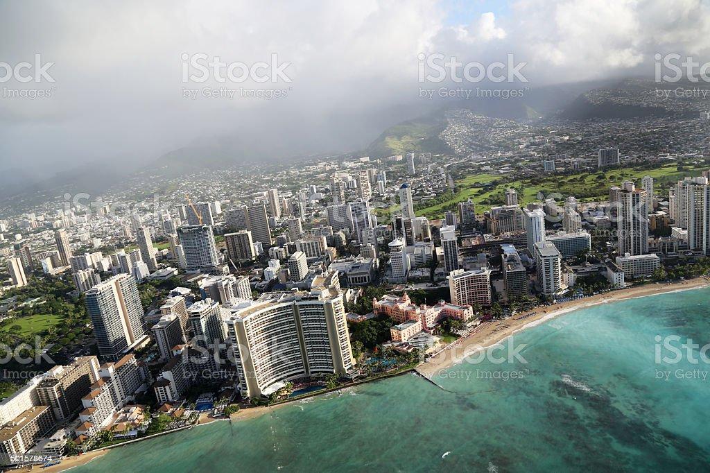 Aerial View of Waikiki Beach stock photo