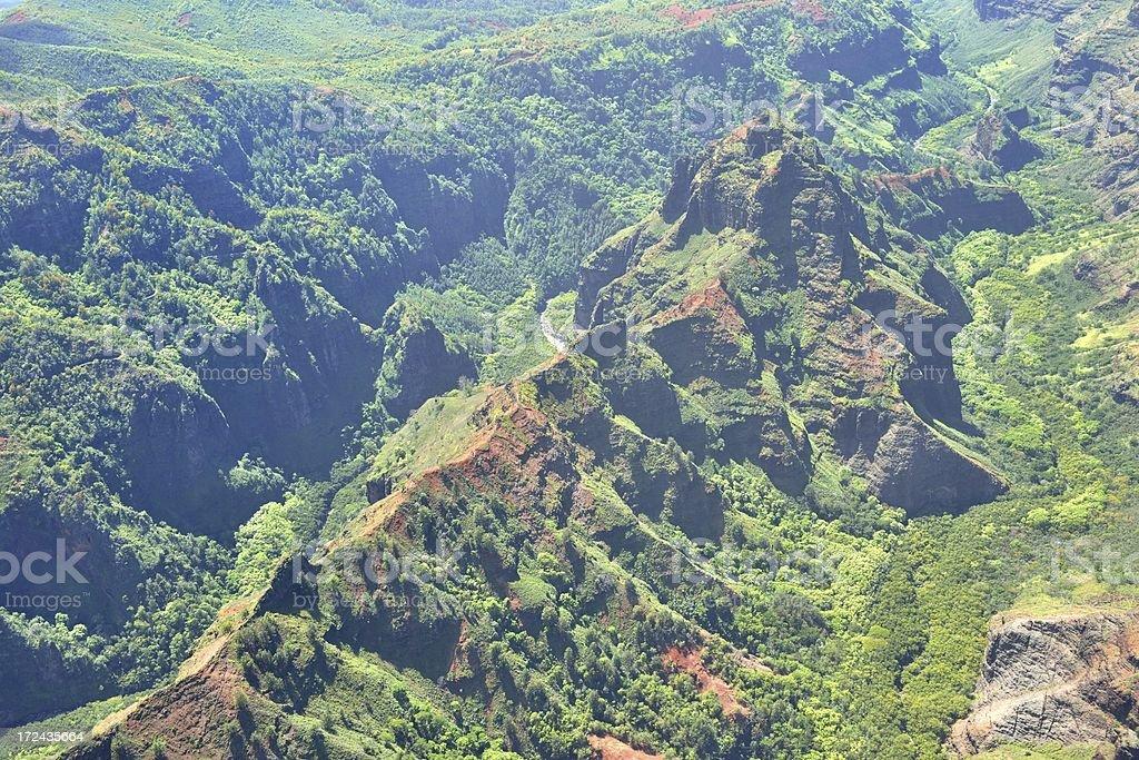 Aerial View of Waimea Canyon on Kauai, Hawaii USA royalty-free stock photo