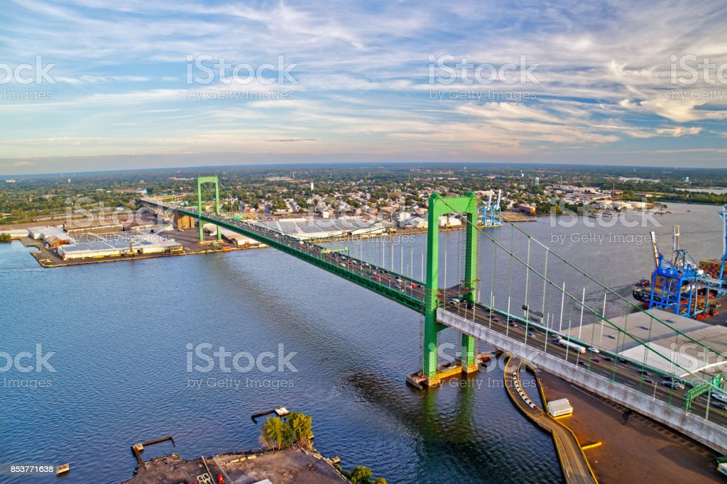 Aerial View of Walt Whitman Bridge Philadelphia stock photo